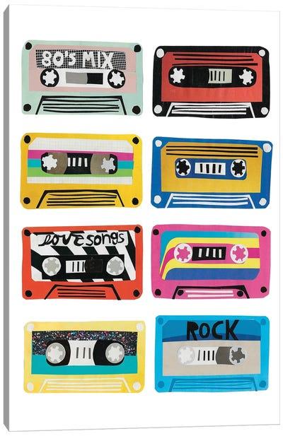Retro Mix Tapes Canvas Art Print