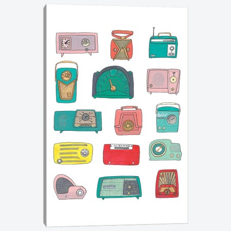 Retro Radios Canvas Print #JBC5} by Jen Bucheli Art Print