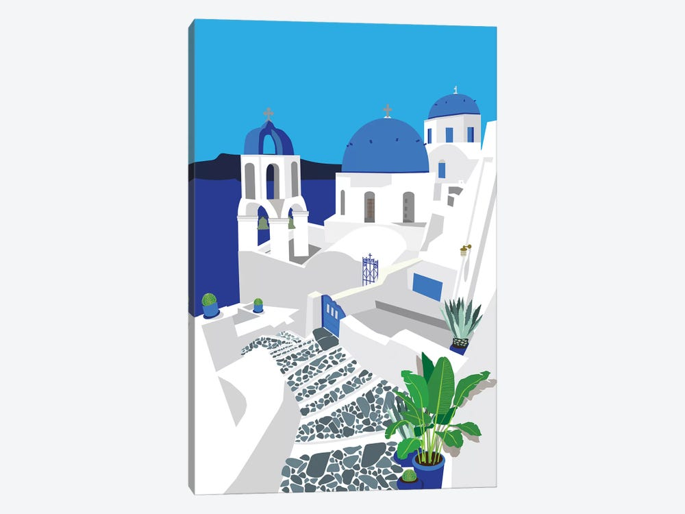 Santorini by Jen Bucheli 1-piece Canvas Wall Art