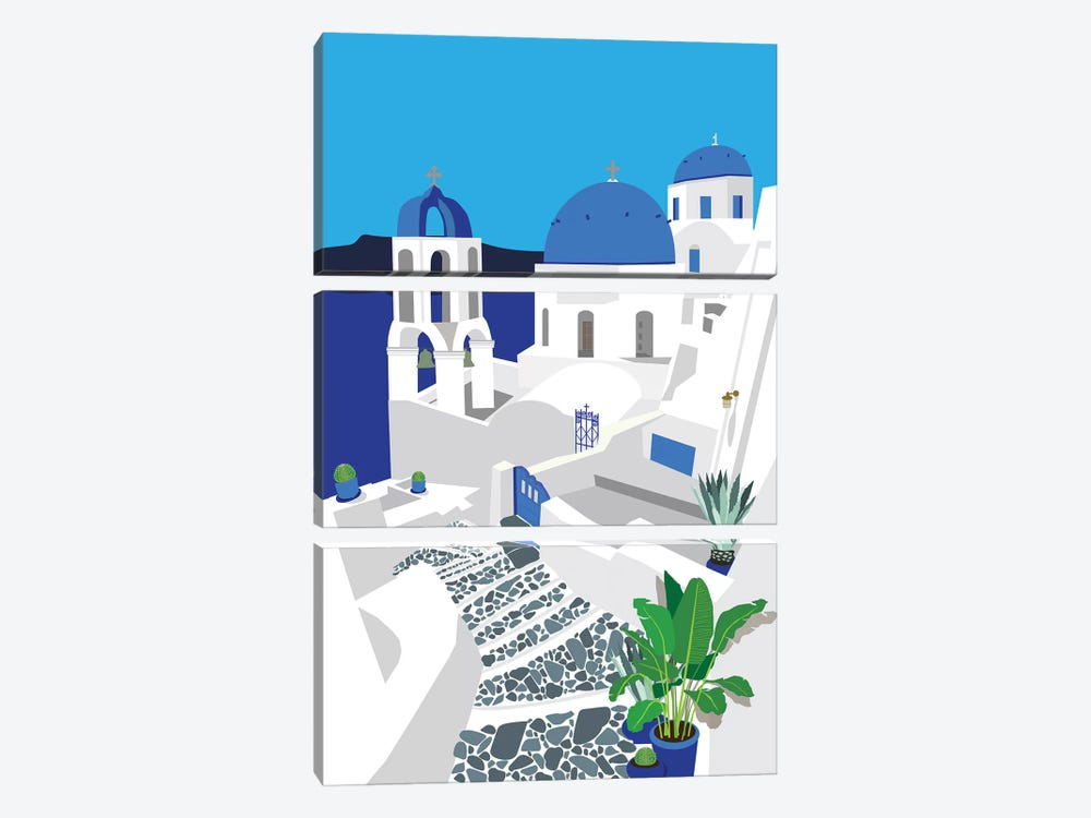 Santorini by Jen Bucheli 3-piece Canvas Artwork