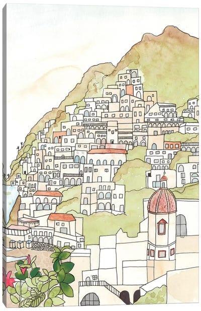 Sketched Mediterranean Cityscape Canvas Art Print