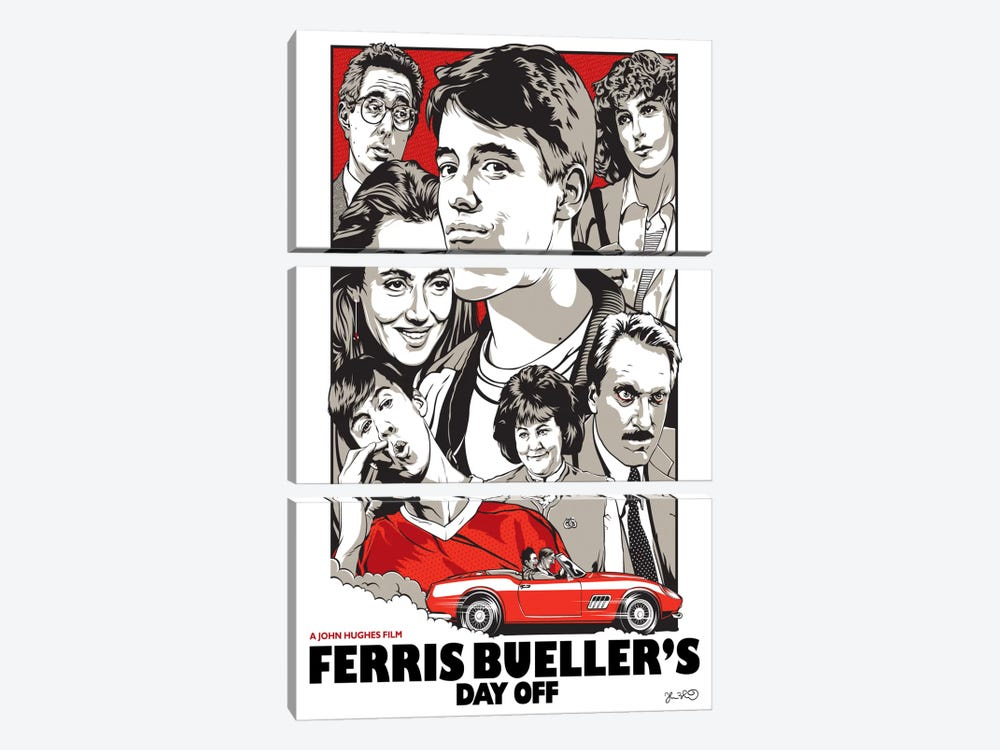 Ferris Bueller's Day Off by Joshua Budich 3-piece Canvas Artwork