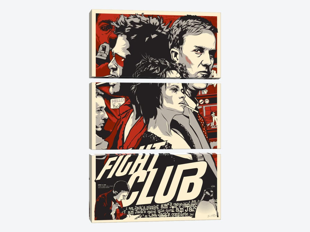 Fight Club by Joshua Budich 3-piece Canvas Art Print