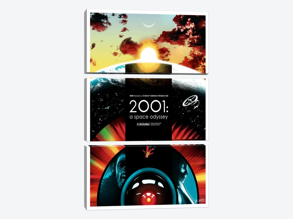 2001: A Space Odyssey by Joshua Budich 3-piece Canvas Wall Art