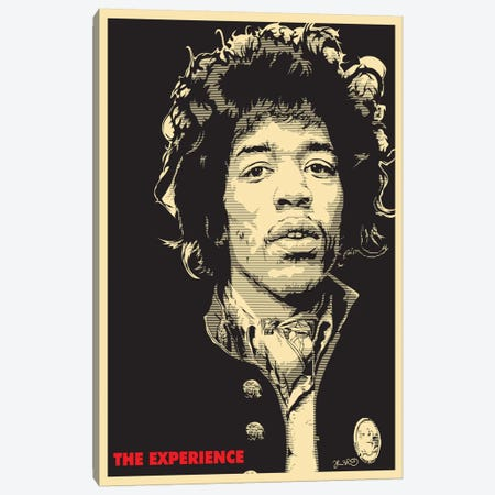 The Experience: Jimi Hendrix Canvas Print #JBD51} by Joshua Budich Canvas Art