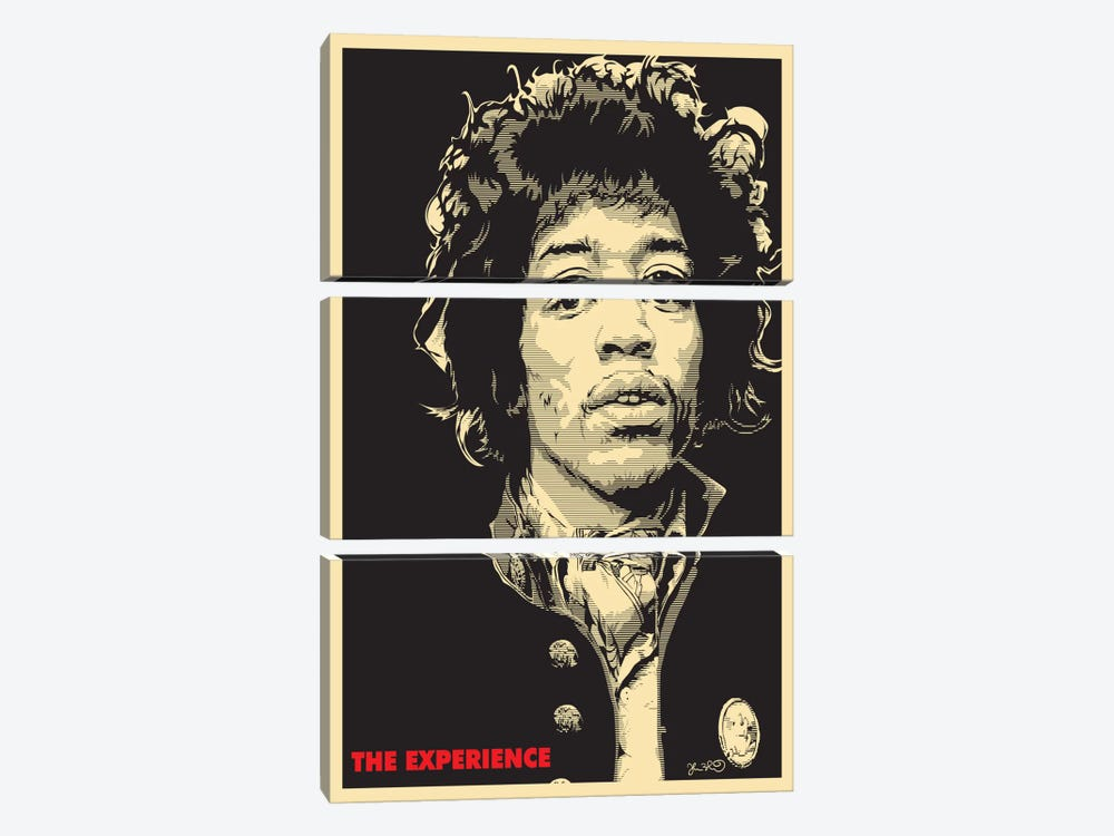 The Experience: Jimi Hendrix by Joshua Budich 3-piece Canvas Wall Art