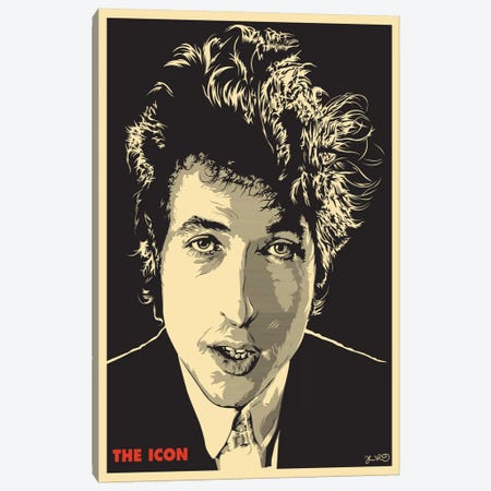 The Icon: Bob Dylan Canvas Print #JBD53} by Joshua Budich Canvas Wall Art