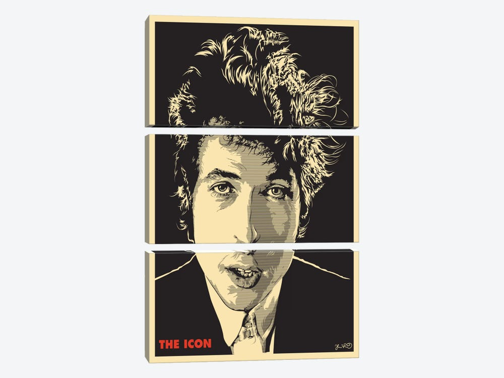 The Icon: Bob Dylan by Joshua Budich 3-piece Canvas Wall Art