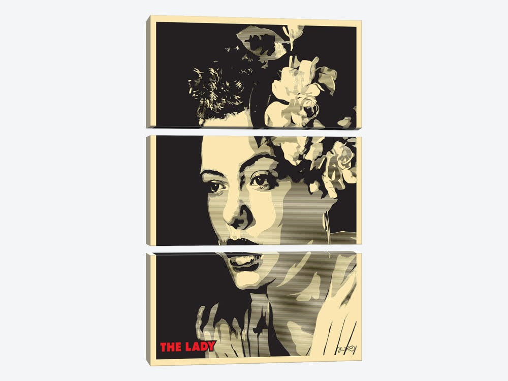 The Lady: Billie Holiday by Joshua Budich 3-piece Canvas Print