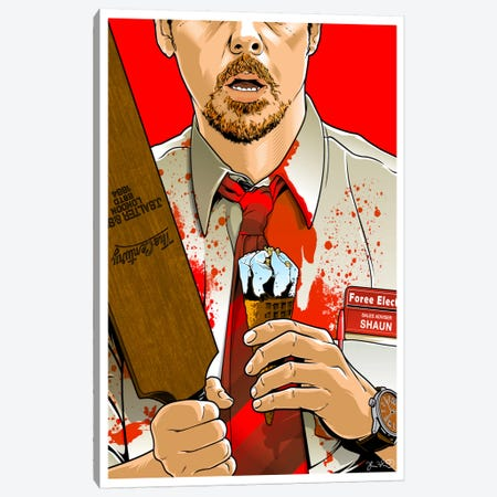 Shaun Of The Dead Canvas Print #JBD82} by Joshua Budich Canvas Print