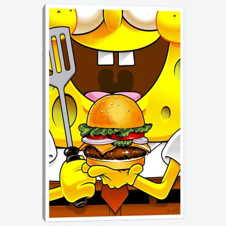 SpongeBob SquarePants Canvas Print #JBD84} by Joshua Budich Canvas Artwork