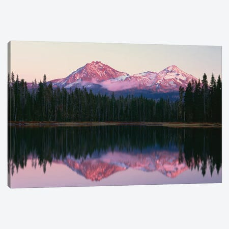 OR, Willamette NF. North and Middle Sister, with first snow of autumn Canvas Print #JBG10} by John Barger Canvas Art Print