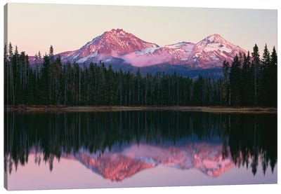 OR, Willamette NF. North and Middle Sister, with first snow of autumn Canvas Art Print