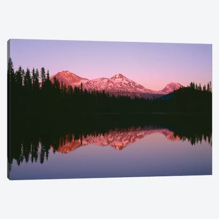 OR, Willamette NF. Sunset reddens the Three Sisters which reflect in Scott Lake. Canvas Print #JBG11} by John Barger Canvas Print