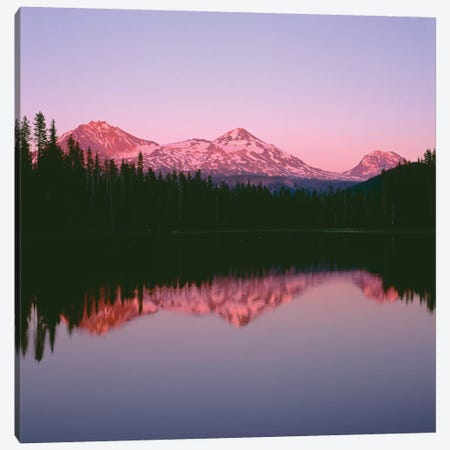OR, Willamette NF. Sunset reddens the Three Sisters which reflect in Scott Lake. Canvas Print #JBG12} by John Barger Canvas Art Print