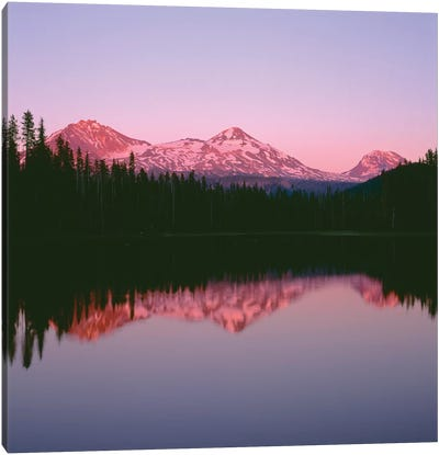 OR, Willamette NF. Sunset reddens the Three Sisters which reflect in Scott Lake. Canvas Art Print