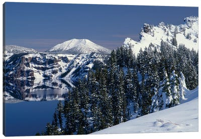 Oregon, Crater Lake National Park. Winter snow accumulates at Crater Lake Canvas Art Print
