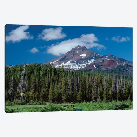 Oregon, Deschutes NF. South side of Broken Top rises above coniferous forest, shrubs and creek. Canvas Print #JBG15} by John Barger Canvas Artwork