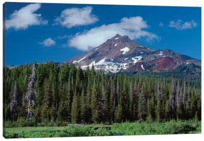 Oregon, Deschutes NF. South side of Broken Top rises above coniferous forest, shrubs and creek. Canvas Art Print