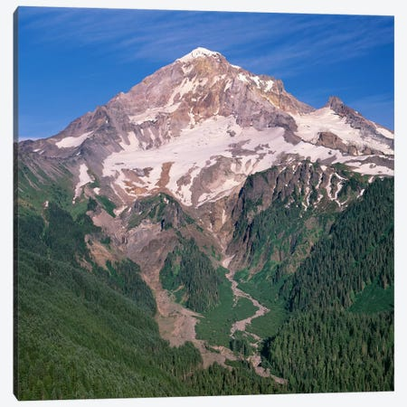 Oregon. Mount Hood NF, Mount Hood Wilderness, west side of Mount Hood and densely forested slopes Canvas Print #JBG17} by John Barger Canvas Wall Art