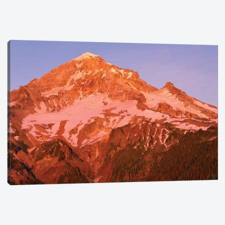 Oregon. Mount Hood NF, Mount Hood Wilderness, west side of Mount Hood reddens at sunset. Canvas Print #JBG18} by John Barger Canvas Print