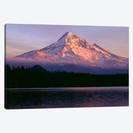Oregon. Mount Hood NF, sunset light reddens north side of Mount Hood with first snow of autumn Canvas Print #JBG19} by John Barger Canvas Print