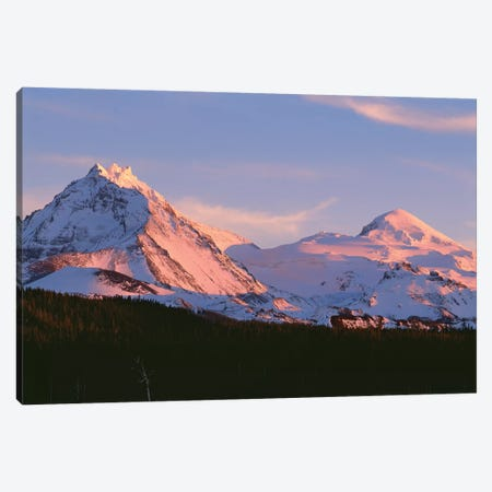 Oregon. Three Sisters Wilderness, sunset light on North and Middle Sister with autumn snow Canvas Print #JBG22} by John Barger Canvas Wall Art