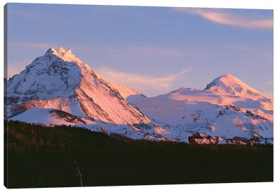 Oregon. Three Sisters Wilderness, sunset light on North and Middle Sister with autumn snow Canvas Art Print