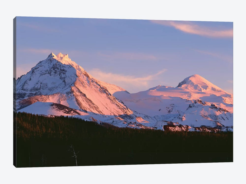 Oregon. Three Sisters Wilderness, sunset light on North and Middle Sister with autumn snow by John Barger 1-piece Canvas Art