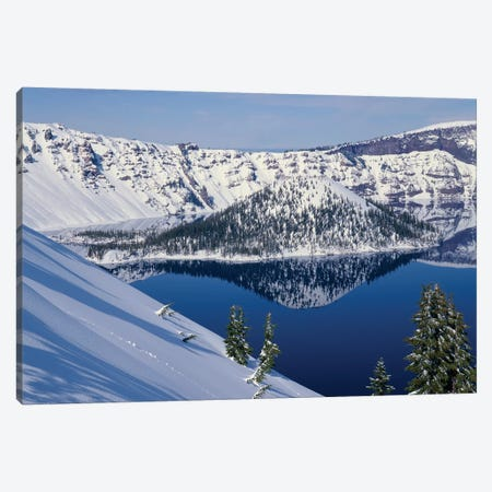 USA, Oregon, Crater Lake National Park. Winter snow on west rim of Crater Lake and Wizard Island. Canvas Print #JBG25} by John Barger Art Print
