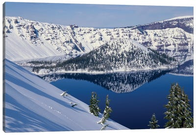 USA, Oregon, Crater Lake National Park. Winter snow on west rim of Crater Lake and Wizard Island. Canvas Art Print