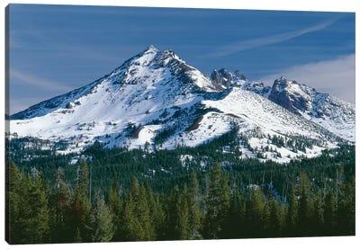 USA, Oregon, Deschutes National Forest. Autumn snow on Broken Top. Canvas Art Print