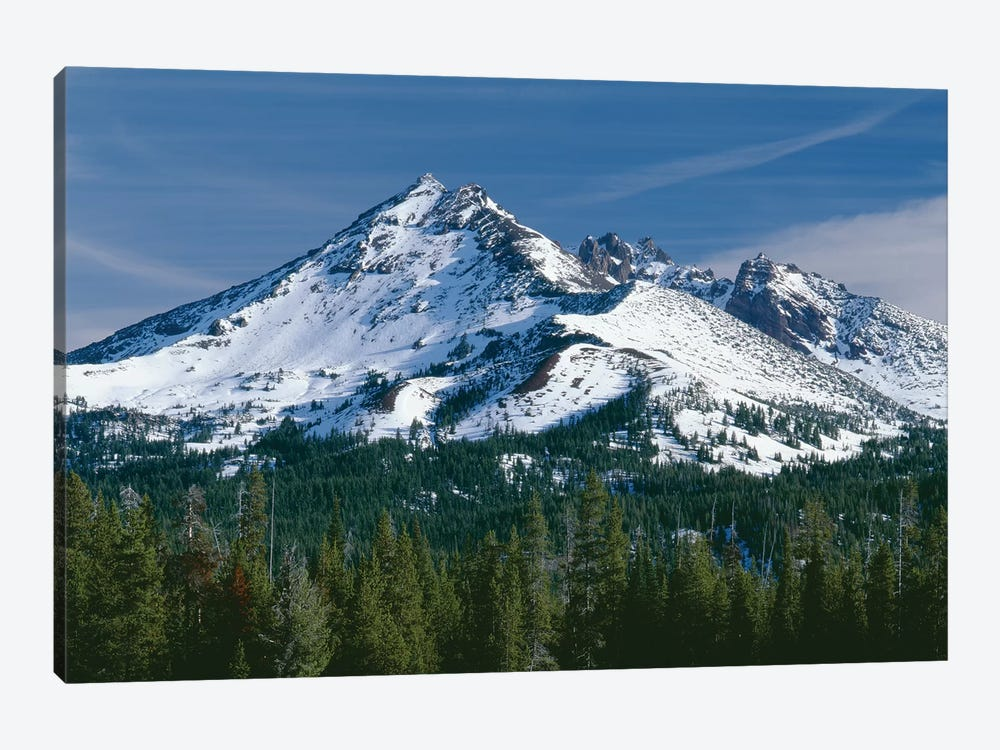 USA, Oregon, Deschutes National Forest. Autumn snow on Broken Top. by John Barger 1-piece Canvas Artwork