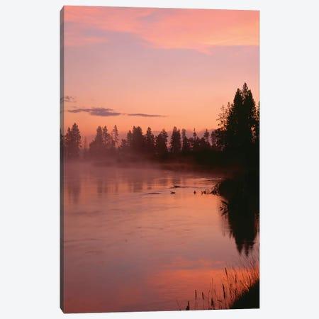 USA, Oregon, Deschutes National Forest. Fog hovers above the Deschutes River at sunrise. Canvas Print #JBG27} by John Barger Canvas Art Print