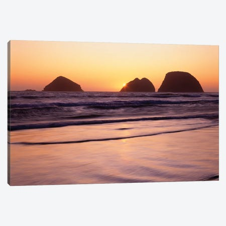 USA, Oregon, Oceanside Beach State Wayside. Sunset over Three Arch Rocks. Canvas Print #JBG29} by John Barger Canvas Wall Art