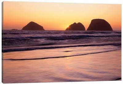 USA, Oregon, Oceanside Beach State Wayside. Sunset over Three Arch Rocks. Canvas Art Print