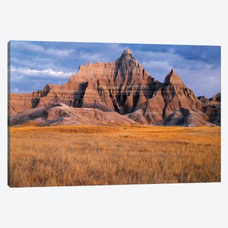 USA, South Dakota, Badlands National Park, Storm clouds over Vampire Peak Canvas Print #JBG2} by John Barger Canvas Wall Art