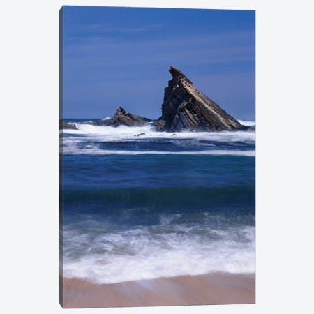 USA, Oregon, Shore Acres State Park. Incoming surf and tilted, sandstone sea stack. Canvas Print #JBG30} by John Barger Canvas Print