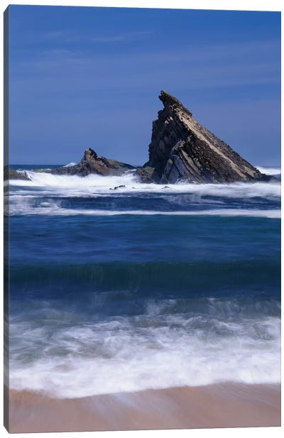 USA, Oregon, Shore Acres State Park. Incoming surf and tilted, sandstone sea stack. Canvas Art Print