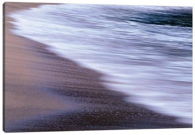USA, Oregon, Shore Acres State Park. Waves and beach sand. Canvas Art Print