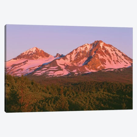 OR, Deschutes NF. Sunrise reddens Middle Sister and North Sister in the Three Sisters Wilderness. Canvas Print #JBG3} by John Barger Canvas Wall Art