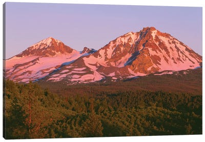 OR, Deschutes NF. Sunrise reddens Middle Sister and North Sister in the Three Sisters Wilderness. Canvas Art Print
