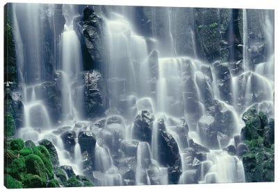 OR, Mount Hood NF. Mount Hood Wilderness, Ramona Falls is formed by a small creek Canvas Art Print