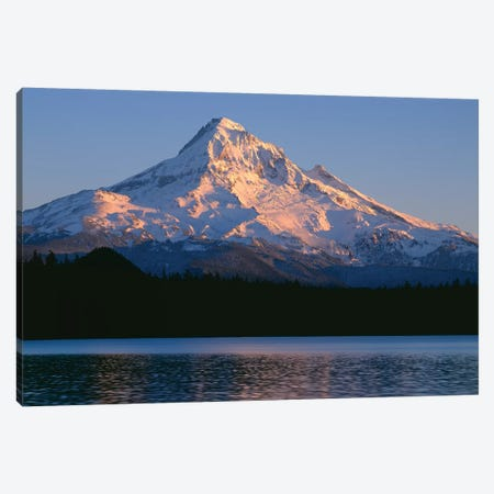 OR, Mount Hood NF. Sunset light on north side of Mount Hood with first snow of autumn Canvas Print #JBG7} by John Barger Canvas Art Print