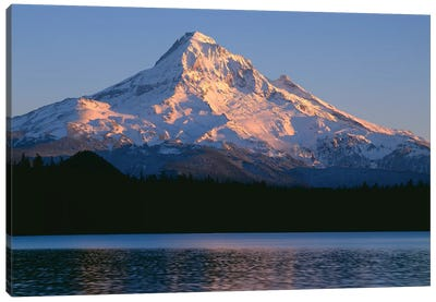 OR, Mount Hood NF. Sunset light on north side of Mount Hood with first snow of autumn Canvas Art Print