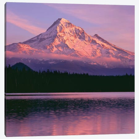 OR, Mount Hood NF. Sunset light reddens north side of Mount Hood with first snow Canvas Print #JBG8} by John Barger Canvas Wall Art