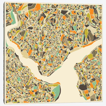 Abstract City Map of Istanbul Canvas Print #JBL100} by Jazzberry Blue Canvas Artwork