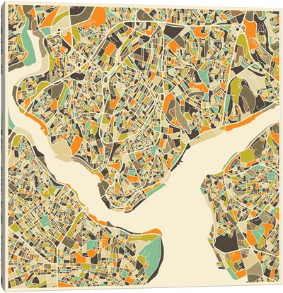 Abstract City Map of Istanbul Canvas Art Print