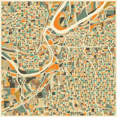 Abstract City Map of Kansas City Canvas Art by Jazzberry Blue | iCanvas