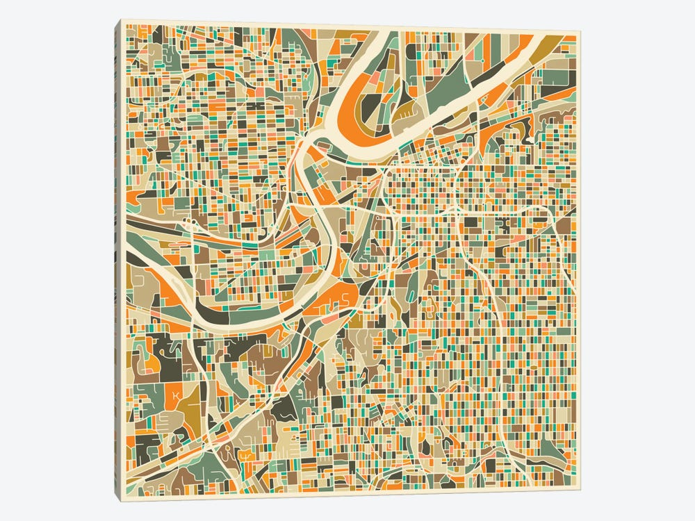 Abstract City Map of Kansas City by Jazzberry Blue 1-piece Art Print